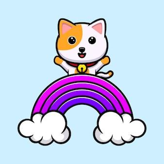 Nette katze, die hand hinter regenbogenkarikaturmaskottchen winkt