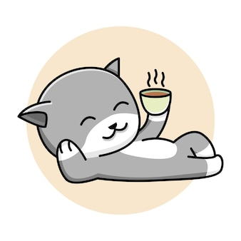 Nette katze, die kaffeekarikaturillustration trinkt