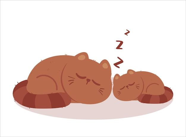 Nette katze, die karikaturkunstillustration schläft