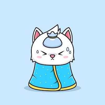 Nette katze, die krank wird, tragen decke