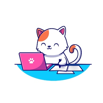 Nette katze, die laptop arbeitet und auf papier cartoon icon illustration schreibt