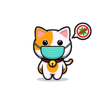 Nette katze, die maske trägt, um viruskarikaturmaskottchen zu verhindern