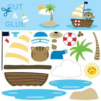 Nette katze, die matrosenuniform auf segelboot mit kleiner insel und lachender sonne trägt. papierspiel für kinder. ausschnitt und kleben.