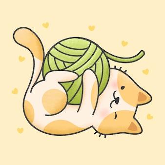 Nette katze, die mit gezeichneter art der garnkarikatur hand spielt
