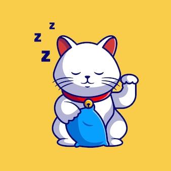 Nette katze, die mit kissen-karikatur-vektor-symbol-illustration schläft. tier natur symbol konzept isoliert premium-vektor. flacher cartoon-stil