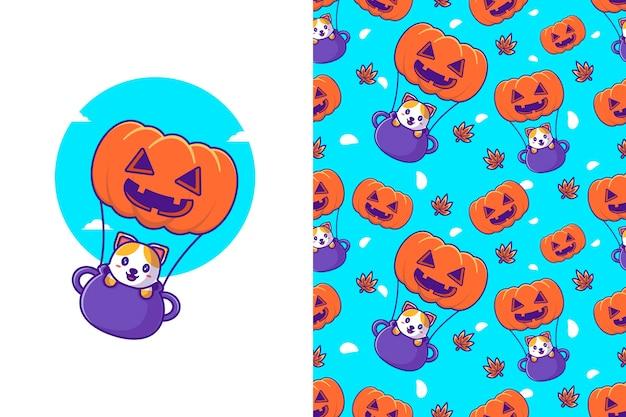 Nette katze, die mit kürbis glückliches halloween mit nahtlosem muster fliegt