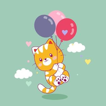 Nette katze, die mit luftballons fliegt