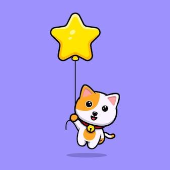 Nette katze, die mit sternballonkarikaturmaskottchen schwimmt