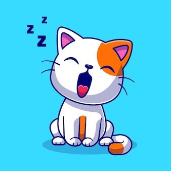 Nette katze, die schläfrige karikatur-vektor-icon-illustration gähnt. tier natur symbol konzept isoliert premium-vektor. flacher cartoon-stil