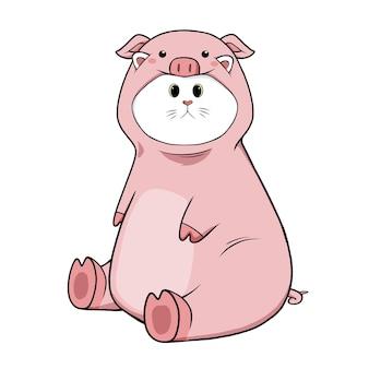 Nette katze, die schweinekostüm trägt