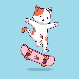 Nette katze, die skateboardkarikaturillustration spielt