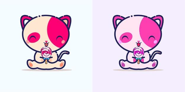 Nette katze, die süßigkeitskarikatur-symbolillustration isst