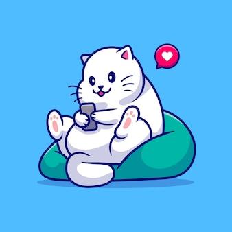 Nette katze, die telefonkarikatur-illustration spielt, sitzend