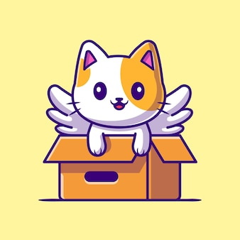Nette katze einhorn spielen in box cartoon icon illustration.
