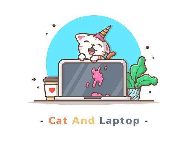Nette katze essen eiscreme auf laptop mit kaffee-und betriebsvektor-illustration