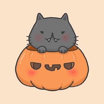 Nette katze halloweens in der gezeichneten art der kürbiskarikatur hand