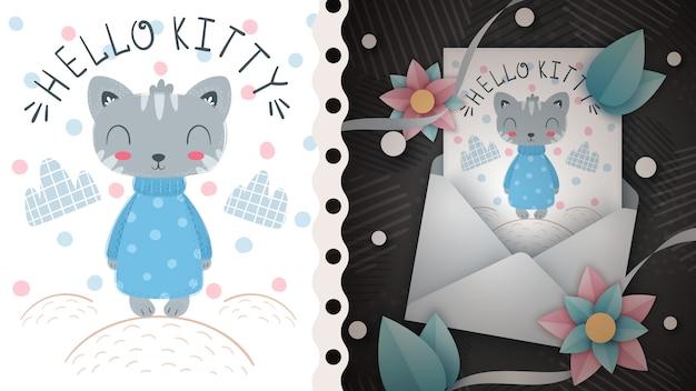 Nette katze - idee für grußkarte