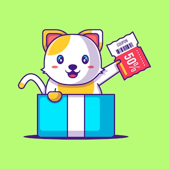 Nette katze im kasten-geschenk, das rabatt-gutschein-karikatur-illustration hält. tier- und flash-verkauf flaches cartoon-stil-konzept
