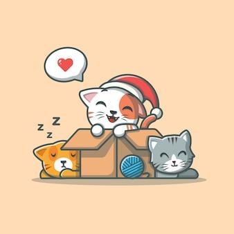Nette katze im kasten, schlafende katze, katze mit wollball. katzenmaskottchen. petshop isoliert