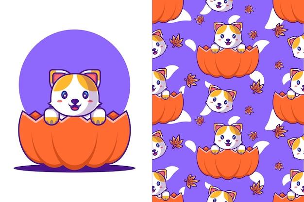 Nette katze im kürbis glückliches halloween mit nahtlosem muster