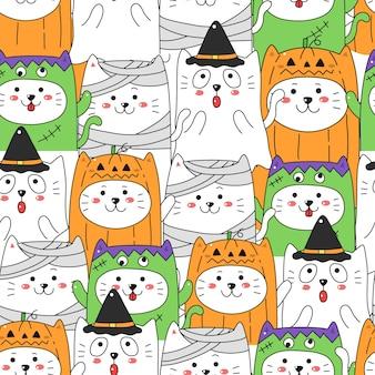 Nette katze im nahtlosen musterhintergrund des halloween-kostüms.