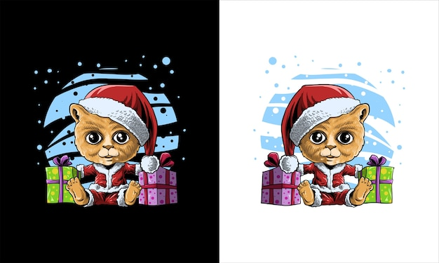Nette katze im weihnachtsmann-outfit-cartoon