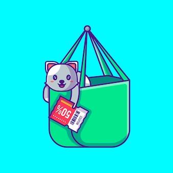 Nette katze in der einkaufstasche, die rabatt-gutschein-karikatur-illustration hält. tier- und flash-verkauf flaches cartoon-stil-konzept