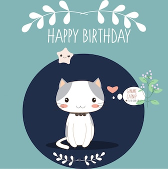 Nette Katze in der Geburtstagsgrußkarte