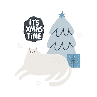 Nette katze in der nähe von weihnachtsbaum hand gezeichnete vektorillustration seine weihnachtszeitbeschriftung