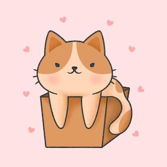 Nette katze in einer gezeichneten art der kastenkarikatur hand