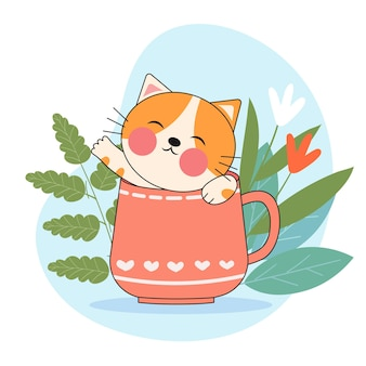 Nette katze in einer kaffeetasse
