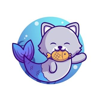 Nette katze meerjungfrau mit fisch cartoon illustration.