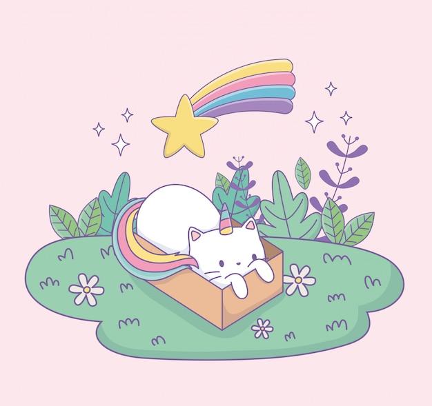 Nette katze mit dem regenbogenendstück in kawaii charakter des kartonkastens