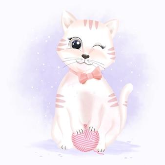 Nette katze mit der gezeichneten illustration der garnballhand