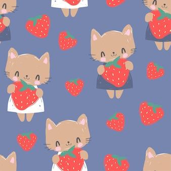Nette katze mit erdbeerillustrationsmuster nahtloser trendiger druck, designtextil für kinder