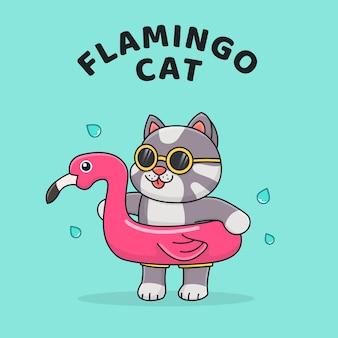 Nette katze mit flamingo-schwimmer und tragender sonnenbrille