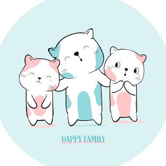 Nette katze mit gezeichneter art des familientieres hand