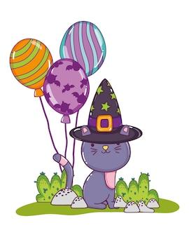 Nette katze mit hexenhut und ballonen