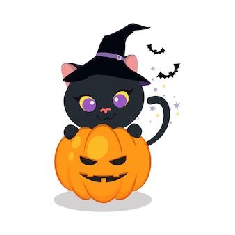 Nette katze mit kürbis-clipart für halloween-tag