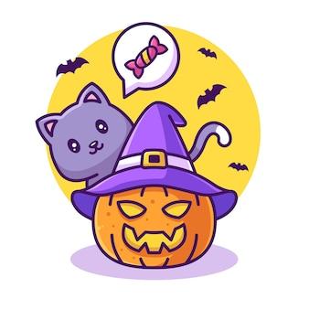 Nette katze mit kürbis- und süßigkeits-illustrations-halloween-logo-vektor-ikonen-illustration im flachen stil