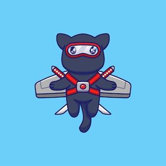 Nette katze mit ninja-kostüm, das mit flügeln fliegt