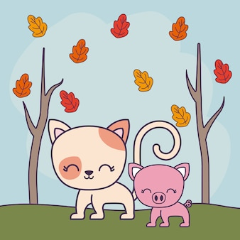 Nette katze mit piggy in der landschaft