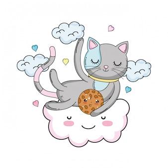 Nette katze mit plätzchen in der wolke