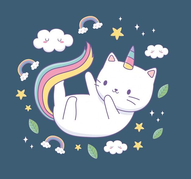 Nette katze mit regenbogenendstück kawaii charakter