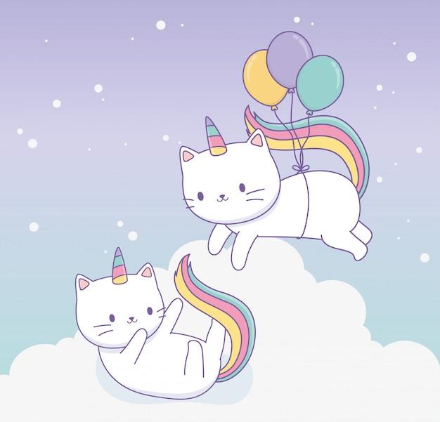 Nette katze mit regenbogenendstück und ballonhelium kawaii charakter