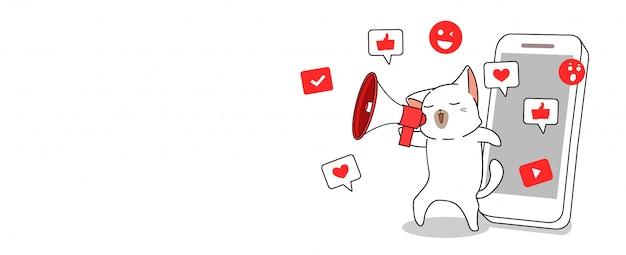 Nette katze mit sozialer medienkonzeptillustration