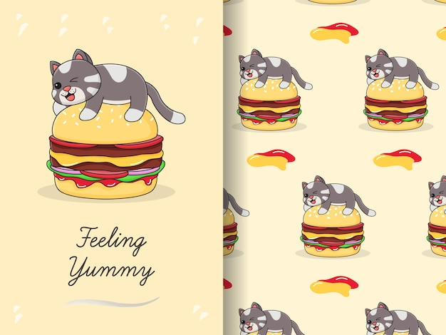 Nette katze oben auf burger-bündel-muster und karte
