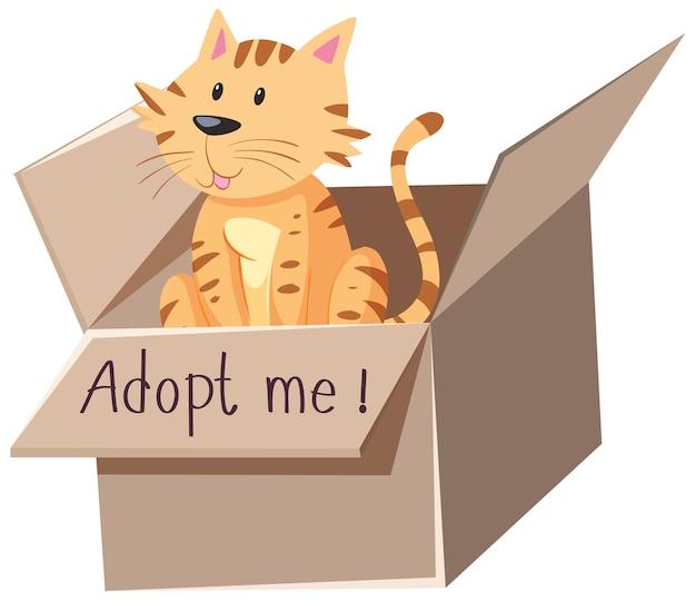 Nette katze oder kätzchen in der box mit adoptieren mich text auf der box cartoon isoliert