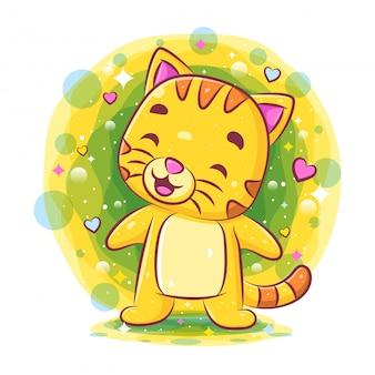 Nette katze stehend und lächelnd