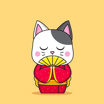 Nette katze tragen japanischen kimono und oni-maske